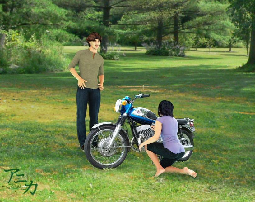 Inspecting the bike