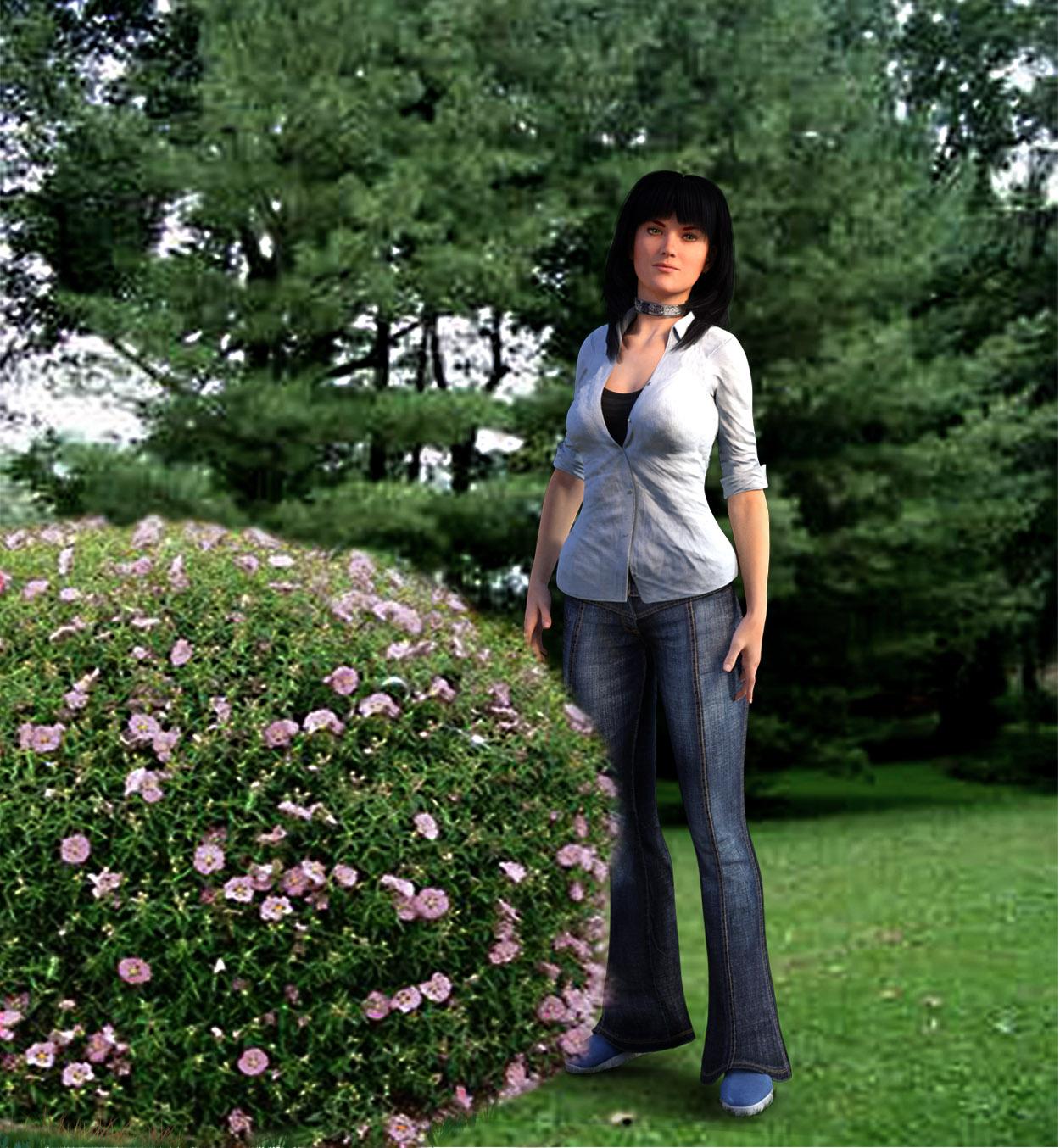 Beside the rose bush