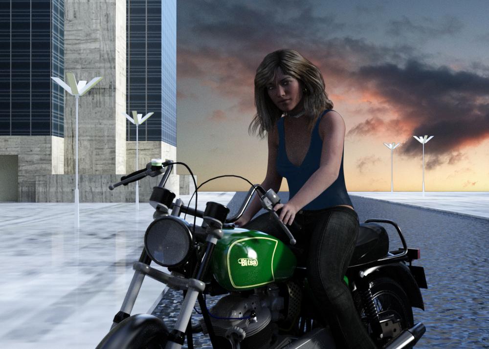 Lora on bike